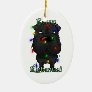 Chinese Shar-Pei - Christmas Lights Ceramic Oval Ornament