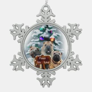 Chinese Shar-Pei Christmas Pewter Snowflake Ornament