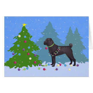 Chinese Shar-Pei Decorating Christmas Tree -forest Card