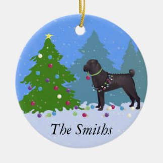 Chinese Shar-Pei Decorating Christmas Tree -forest Ceramic Ornament