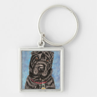 Chinese Shar-Pei Dog Art - Tia Keychain