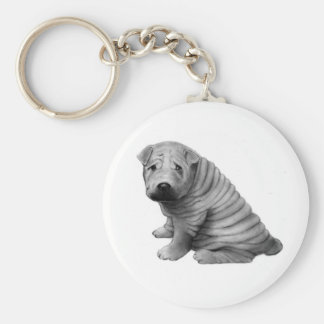 CHINESE SHAR-PEI: PENCIL REALISM: DOG KEYCHAIN