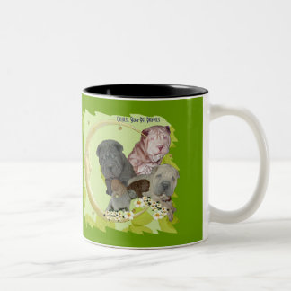 Chinese Shar-Pei Puppies with Gold Moon on Green Two-Tone Coffee Mug