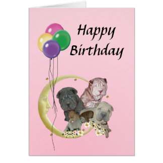 Chinese Shar-Pei Pups with Balloons Happy Birthday Card