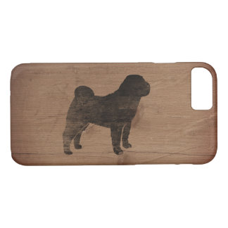 Chinese Shar Pei Silhouette Rustic iPhone 7 Case