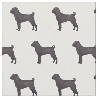 Chinese Shar-Pei Silhouette Tiled - Basic Black Fabric