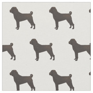 Chinese Shar-Pei Silhouette Tiled - Basic Brown Fabric