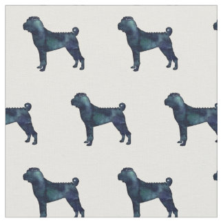 Chinese Shar-Pei Silhouette Tiled - Black Watercol Fabric