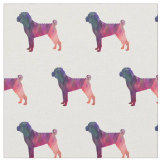 Chinese Shar-Pei Silhouette Tiled - Pink Fabric