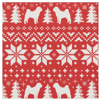 Chinese Shar Pei Silhouettes Christmas Pattern Fabric