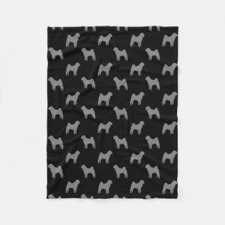 Chinese Shar Pei Silhouettes Pattern Fleece Blanket