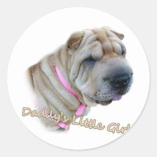Chinese Sharpei Daddy's Little Girl Classic Round Sticker