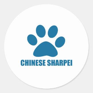 CHINESE SHARPEI DOG DESIGNS CLASSIC ROUND STICKER