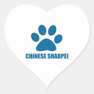 CHINESE SHARPEI DOG DESIGNS HEART STICKER