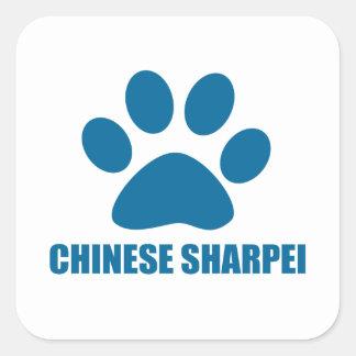 CHINESE SHARPEI DOG DESIGNS SQUARE STICKER