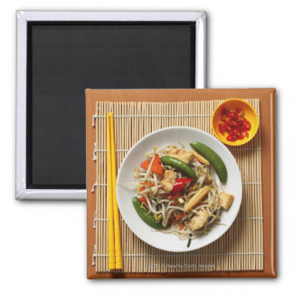 Chinese stir fried vegetables with chillies square magnet