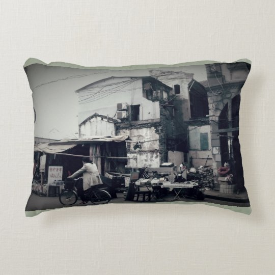 Chinese Street Scene Accent Pillow