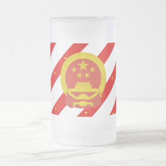 Chinese stripes flag frosted glass beer mug
