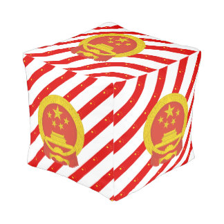 Chinese stripes flag pouf