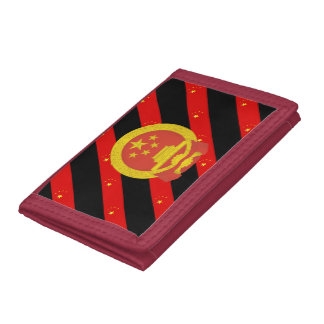 Chinese stripes flag tri-fold wallet