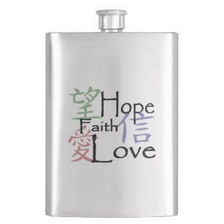 Chinese symbols for love, hope and faith flasks