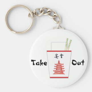 Chinese Take Out Basic Round Button Keychain