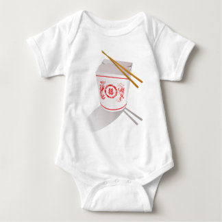 Chinese Take Out Food Box with Chopsticks Baby Bodysuit