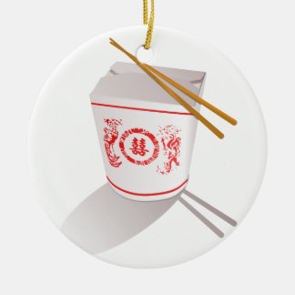 Chinese Take Out Food Box with Chopsticks Round Ceramic Ornament