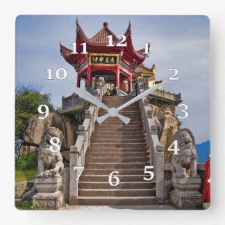 Chinese temple square wall clock