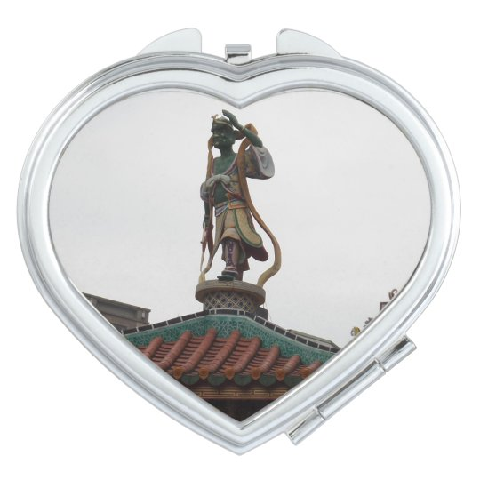 Chinese Temple Statue Heart Compact Mirror