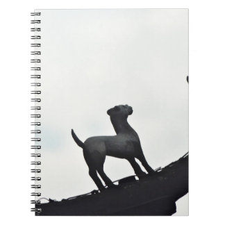 Chinese Terracotta Dogs Silhouetted On a Roof Notebook