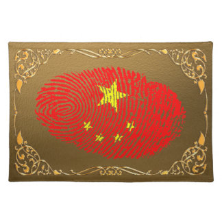 Chinese touch fingerprint flag placemat