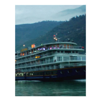 Chinese tourist boat in river Yangtz Letterhead Template