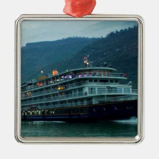 Chinese tourist boat in river Yangtz Metal Ornament