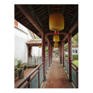 Chinese traditional corridor and courtyard postcard
