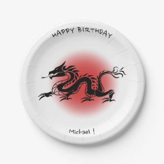 Chinese traditional dragon birthday name plate 7 inch paper plate