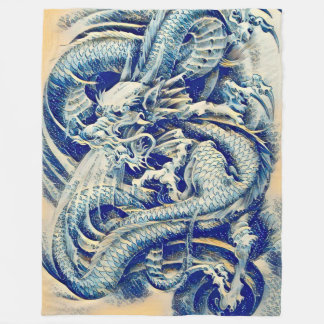 Chinese Water Dragon Fleece Blanket