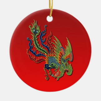 Chinese Wealthy Peacock Tattoo Design on Red Ceramic Ornament