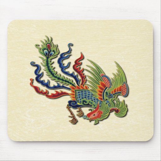 Chinese Wealthy Peacock Tattoo Mousepad