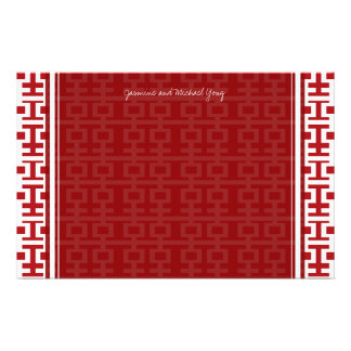 Chinese Wedding Double Happiness Pattern Thank You Stationery Paper