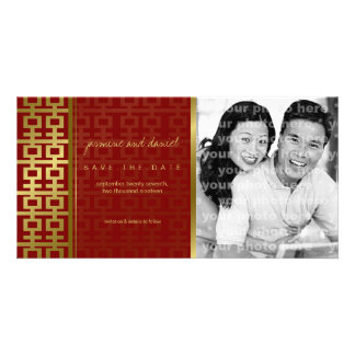 Chinese Wedding Double Happiness Red Save The Date Personalized Photo Card