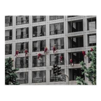 Chinese Window Washers Postcard