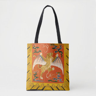 Chinese winged tiger, orange and yellow tote bag