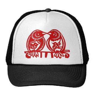 Chinese Woodcut Love Birds Trucker Hats