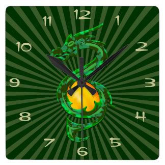 Chinese Year of the Dragon Jade Green Wall Clocks
