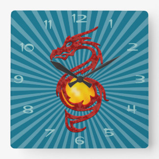 Chinese Year of the Dragon Metalic Red Clocks