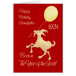 Chinese Year of the Goat 1931 Grandfather Birthday Card