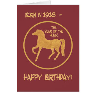 Chinese Year of the Horse Birthday Card, 1918 Card