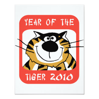"""Chinese Year of The Tiger 2010 4.25"""" X 5.5"""" Invitation Card"""