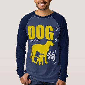 Chinese Yellow Dog Year 2018 Black Blue Men Shirt